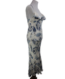 Ralph Lauren White Blue Print Silk Dress 2