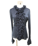 Ralph Lauren Navy Cotton Ruffle Top 1