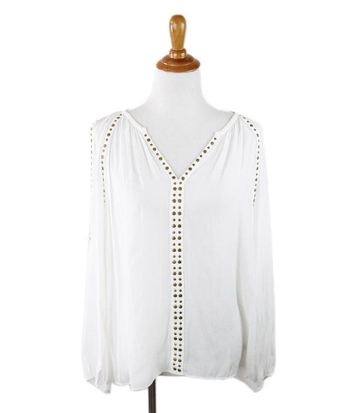 Shirt Ramy Brook Size 10 White Polyester Gold Grommet Top
