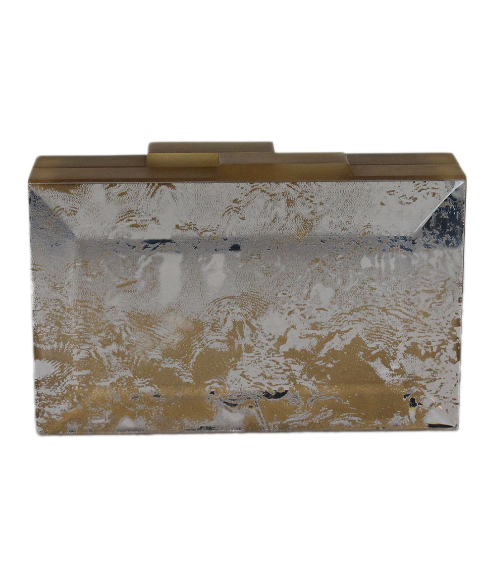 Rauwolf Brown Gold Lucite Clear Clutch 1