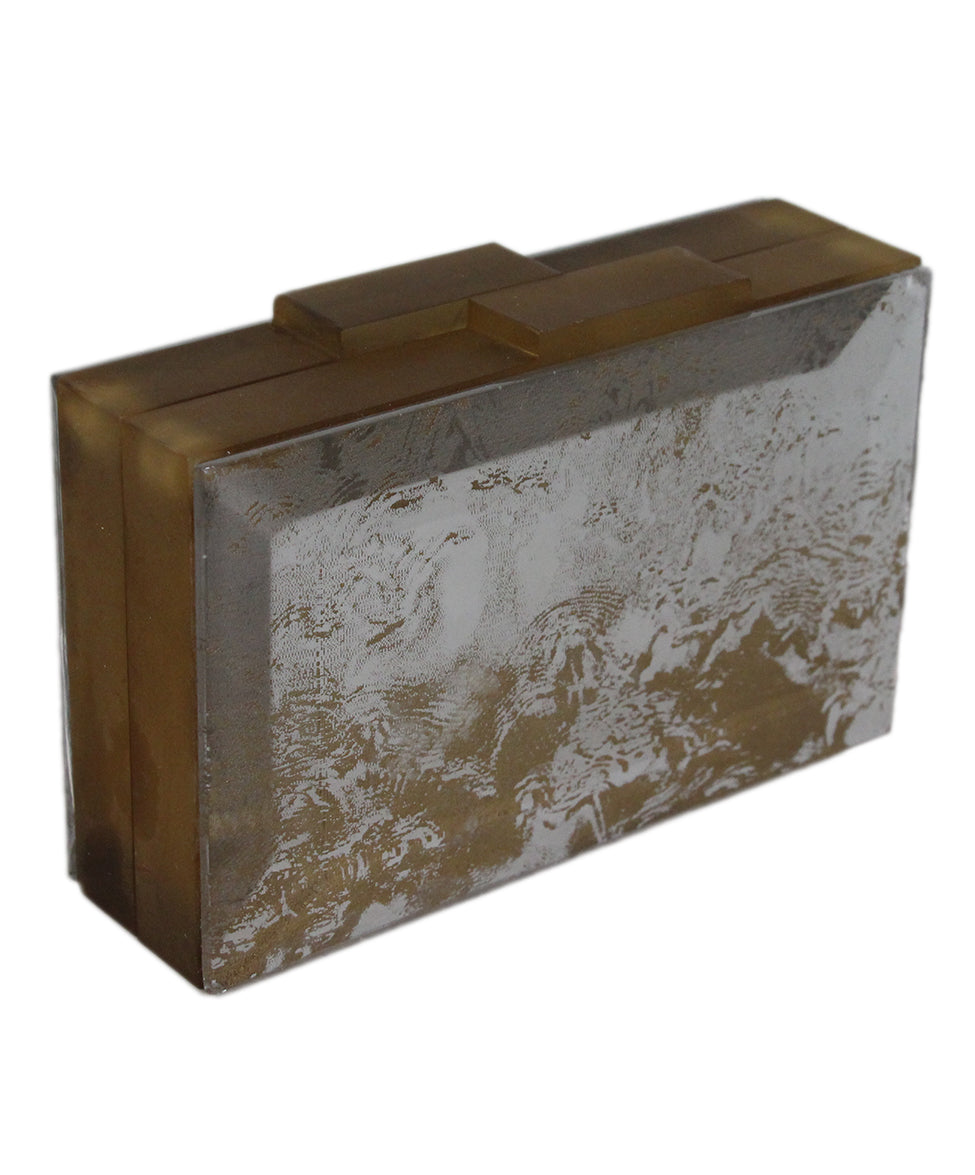 Rauwolf Brown Gold Lucite Clear Clutch 2