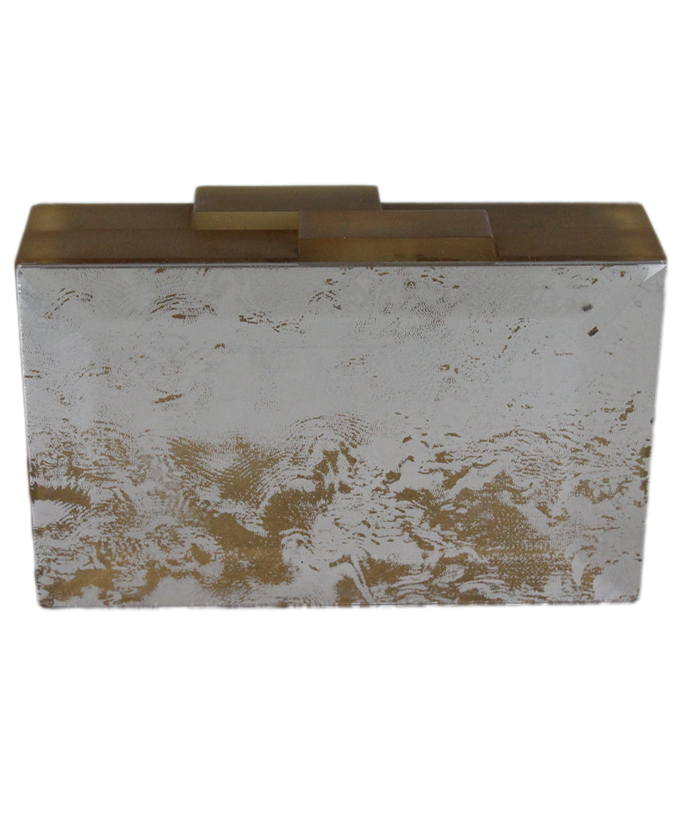Rauwolf Brown Gold Lucite Clear Clutch 3