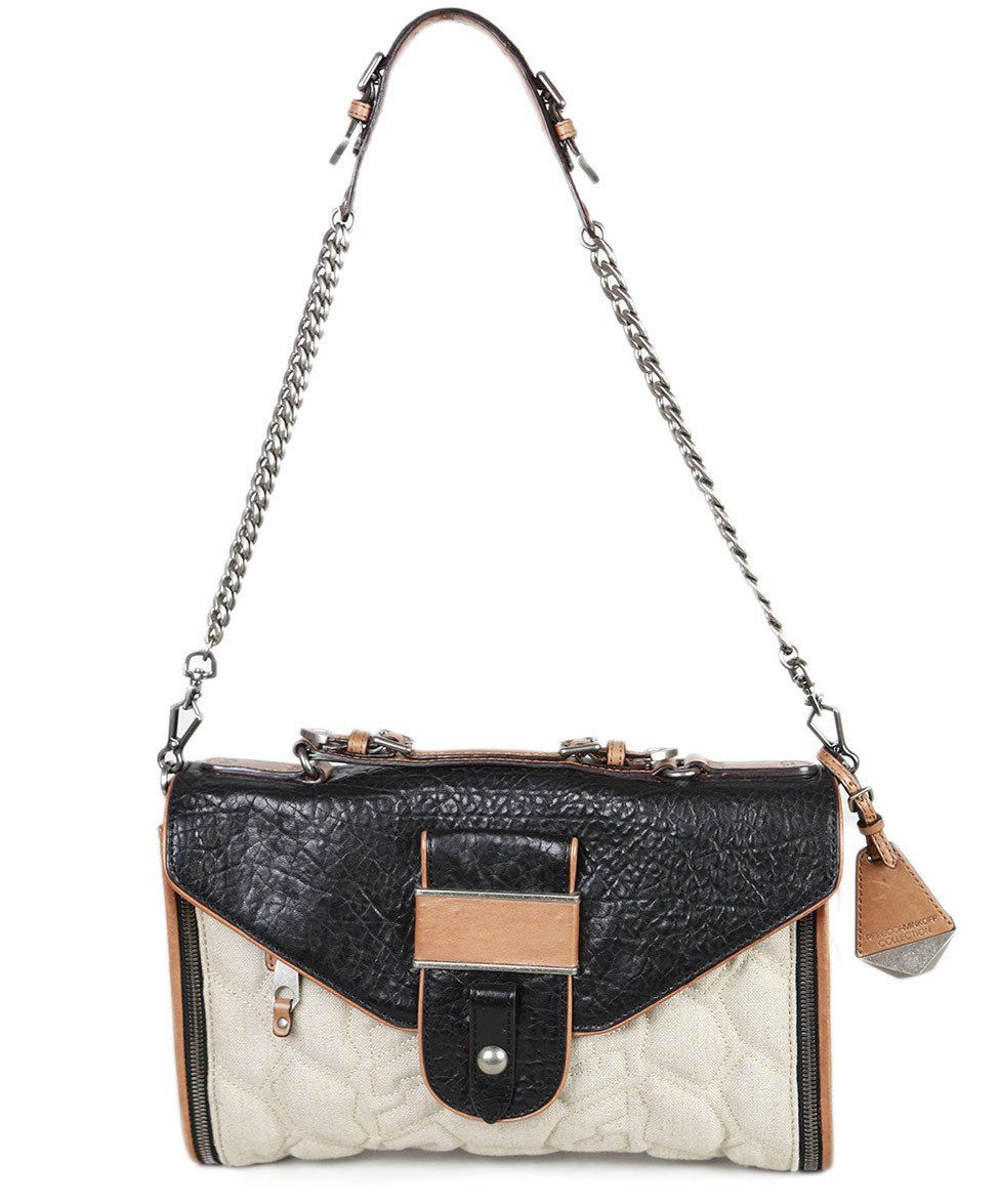 Rebecca Minkoff Black Leather Tan Canvas Handbag