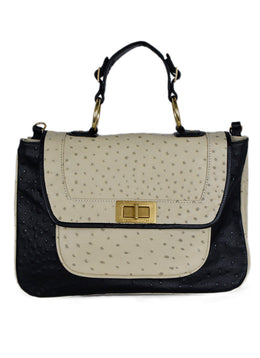 Rebecca Minkoff Black Beige Pressed Leather Handbag 1