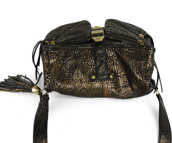 Rebecca Minkoff Black Gold Leather Crossbody | Rebecca Minkoff