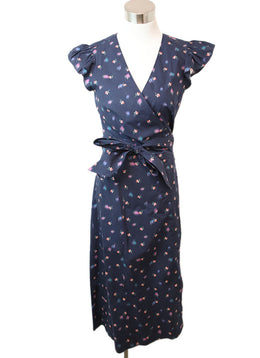 Rebecca Taylor Navy Pink Floral Cotton Dress 1