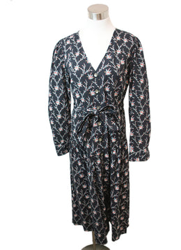 Rebecca Taylor Black Floral Print Cotton Dress 1