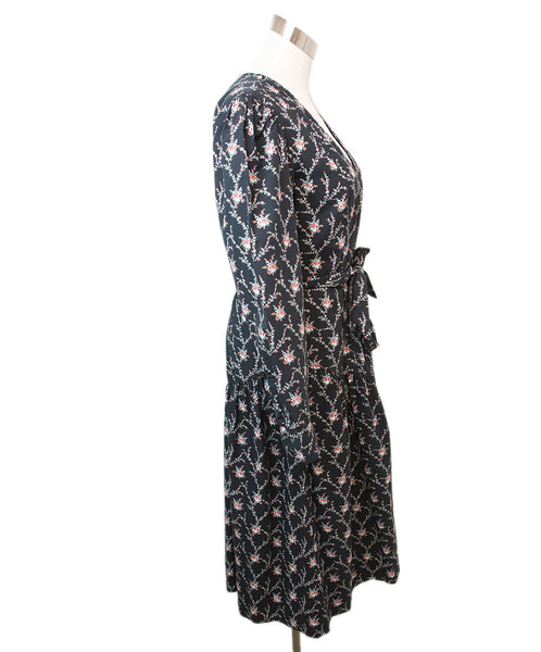 Rebecca Taylor Black Floral Print Cotton Dress 2