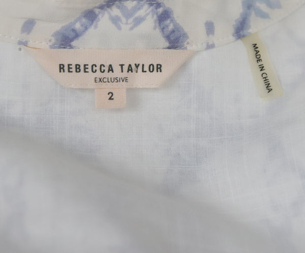 Rebecca Taylor White Lavender Cotton Print Top 4