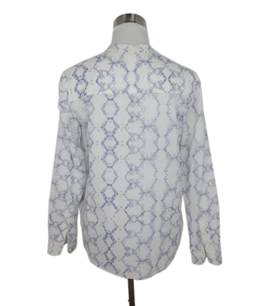 Rebecca Taylor White Lavender Cotton Print Top 3
