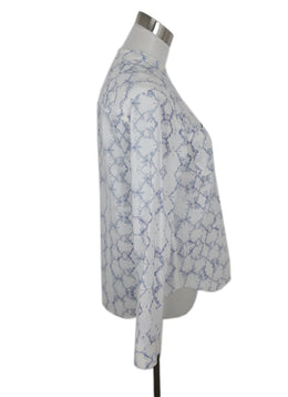 Rebecca Taylor White Lavender Cotton Print Top 2