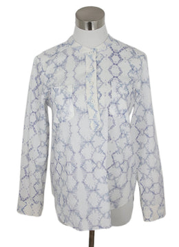 Rebecca Taylor White Lavender Cotton Print Top 1