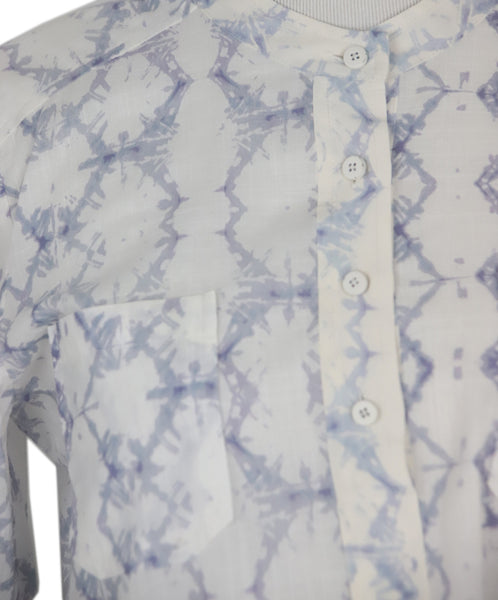 Rebecca Taylor White Lavender Cotton Print Top 5