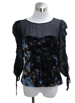 Rebecca Taylor Black Silk Velvet Top
