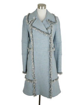 Rebecca Taylor Blue Heather Wool Curly Lamb Trim Coat 1