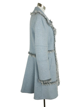 Rebecca Taylor Blue Heather Wool Curly Lamb Trim Coat 2