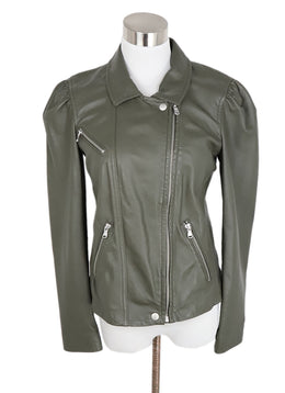 Rebecca Taylor Grey Charcoal Leather Jacket 1