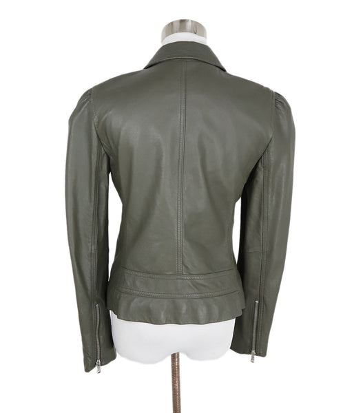 Rebecca Taylor Grey Charcoal Leather Jacket 3