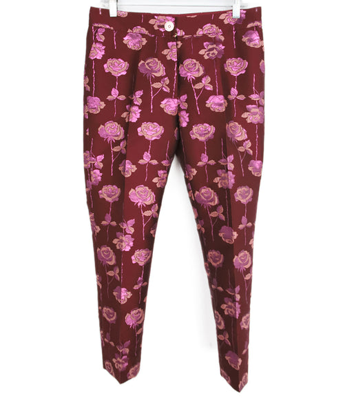Manoush Burgundy Pink Floral Polyester Pants 1