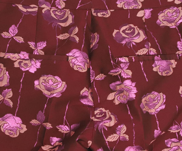 Manoush Burgundy Pink Floral Polyester Pants 6