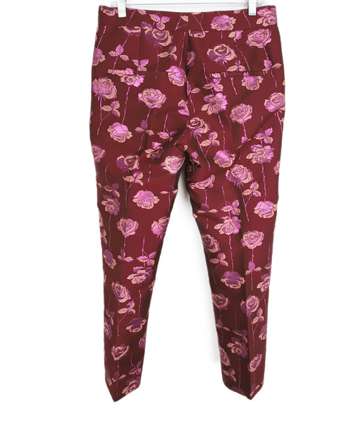 Manoush Burgundy Pink Floral Polyester Pants 2