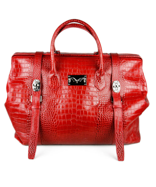 Red Pressed Leather Luggage
