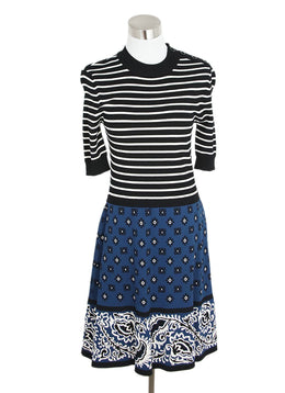 Red Valentino Black Striped and Blue Floral Print Dress 1
