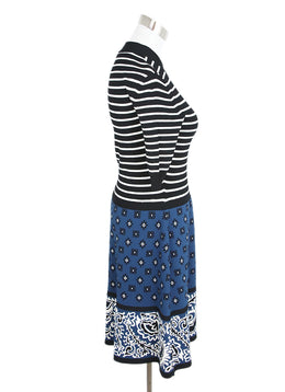 Red Valentino Black Striped and Blue Floral Print Dress 2