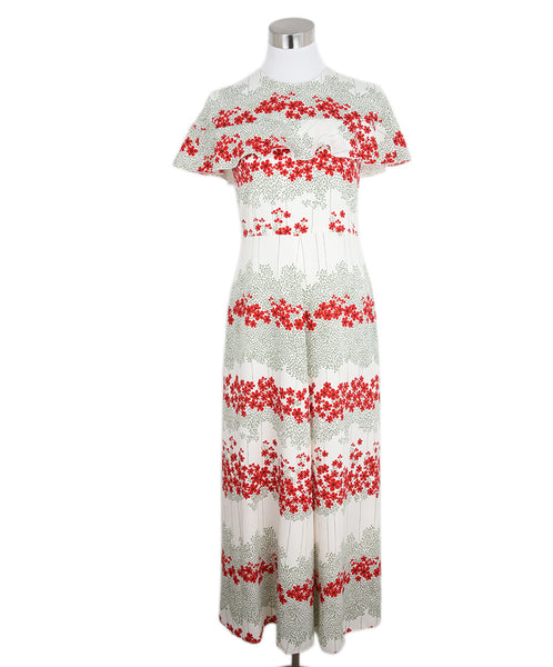 Long Red Valentino Ivory Red Olive Floral Polyester Dress 1