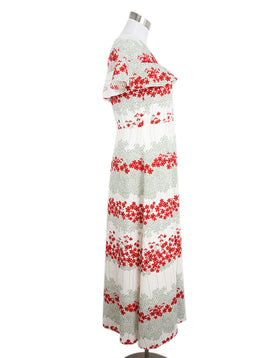 Long Red Valentino Ivory Red Olive Floral Polyester Dress 2