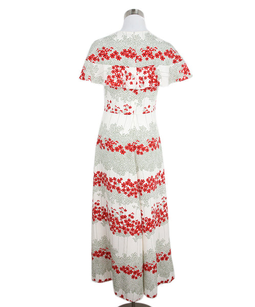 Long Red Valentino Ivory Red Olive Floral Polyester Dress 3