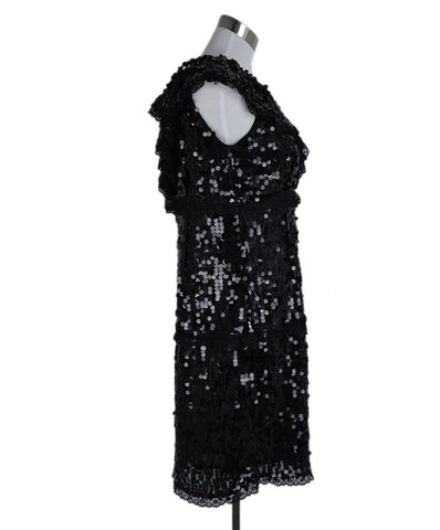 Red Valentino Black Sequins Asymmetrical Evening Dress 1