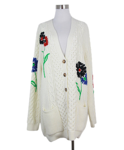 Red Valentino white knit red floral print cardigan 1