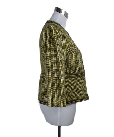 Red Valentino Yellow Green Tweed Gold Trim Jacket 1