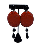 Red Black Plastic Earrings | Michael's Consignment NYC
