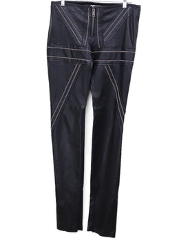 Redemption Black Leather Silver Chain Trim Pants