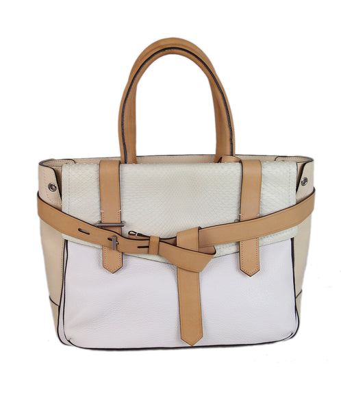 Reed Krakoff White Leather Snake Skin Tote 1