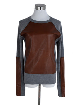 Reed Krakoff Grey Brown Cashmere Wool Leather Sweater 1