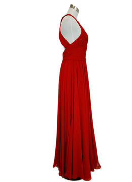 Reem Acra Red Silk Gathered Detail Chiffon Evening Dress 2
