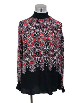 Reiss Black Red Print Mock Neck Top sz 0