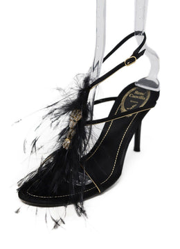 Rene Caovilla Black Gold Satin Rhinestone Shoes 1