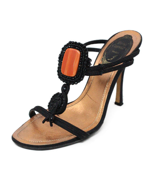 Rene Caovilla Black Leather Sandals with Beading Detail 1