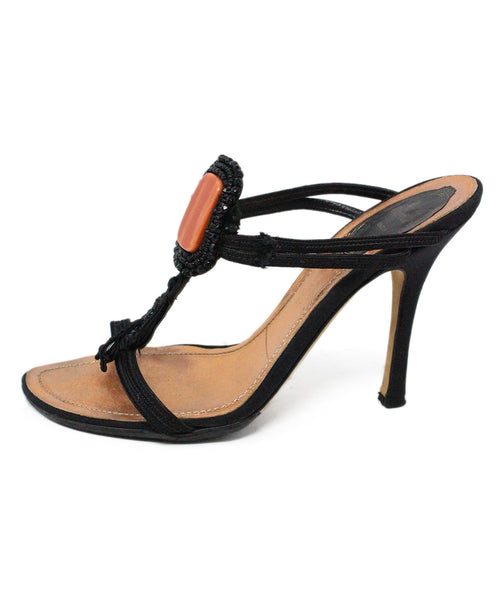 Rene Caovilla Black Leather Sandals with Beading Detail 2