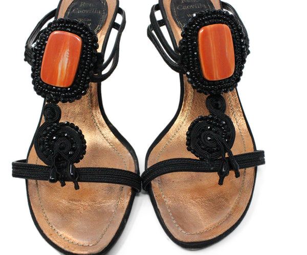 Rene Caovilla Black Leather Sandals with Beading Detail 6