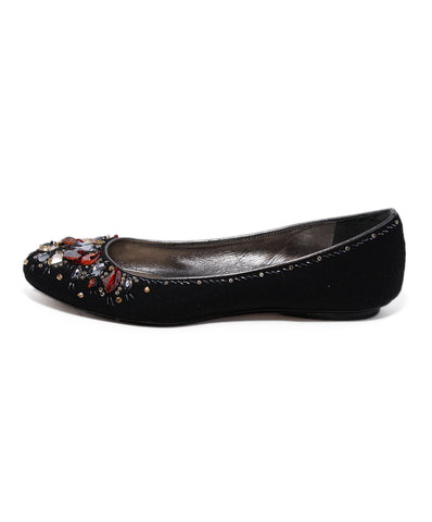 Rene Caovilla Black Silk Red Gold Flats 1