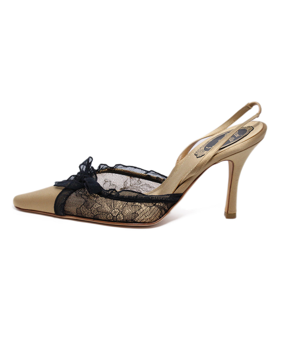 Rene Caovilla Gold Satin Black Lace Heels 2