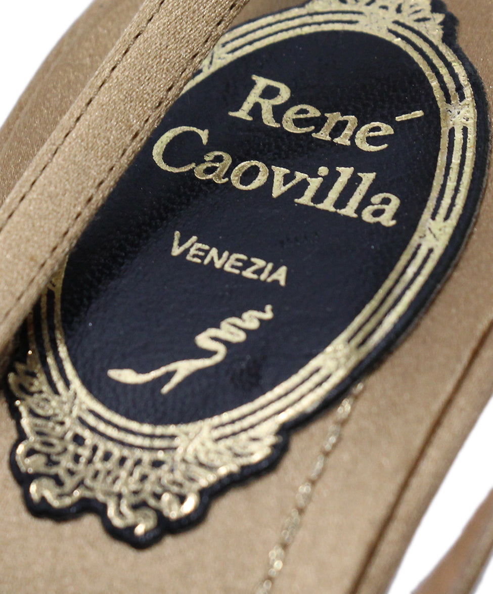 Rene Caovilla Gold Satin Black Lace Heels 7
