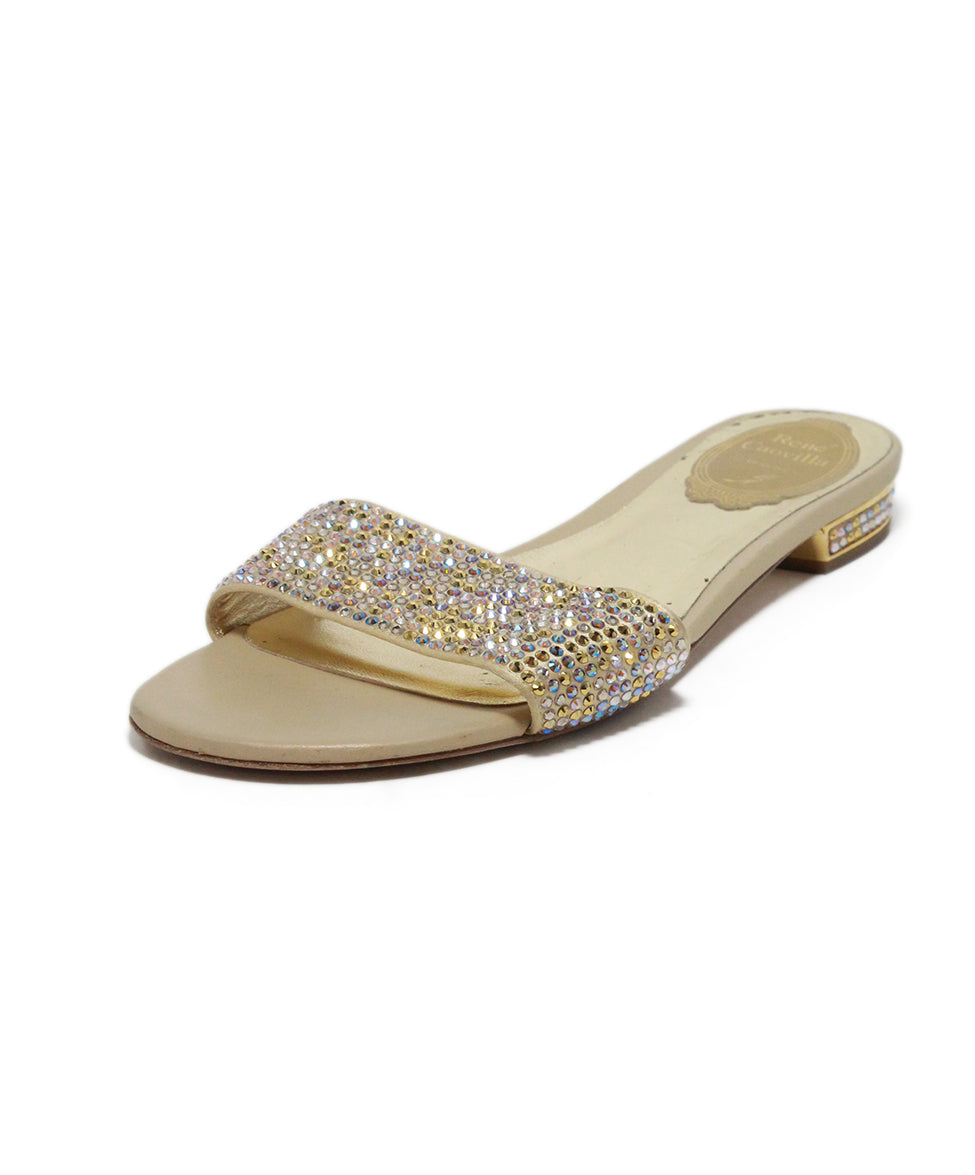 Rene Caovilla Neutral Beige Crystal Leather Sandals 1