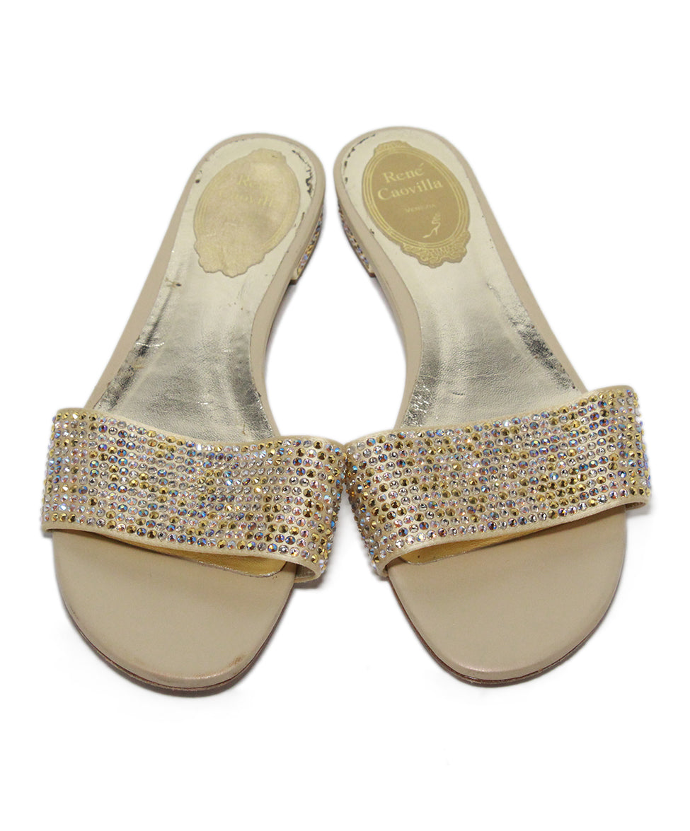 Rene Caovilla Neutral Beige Crystal Leather Sandals 4