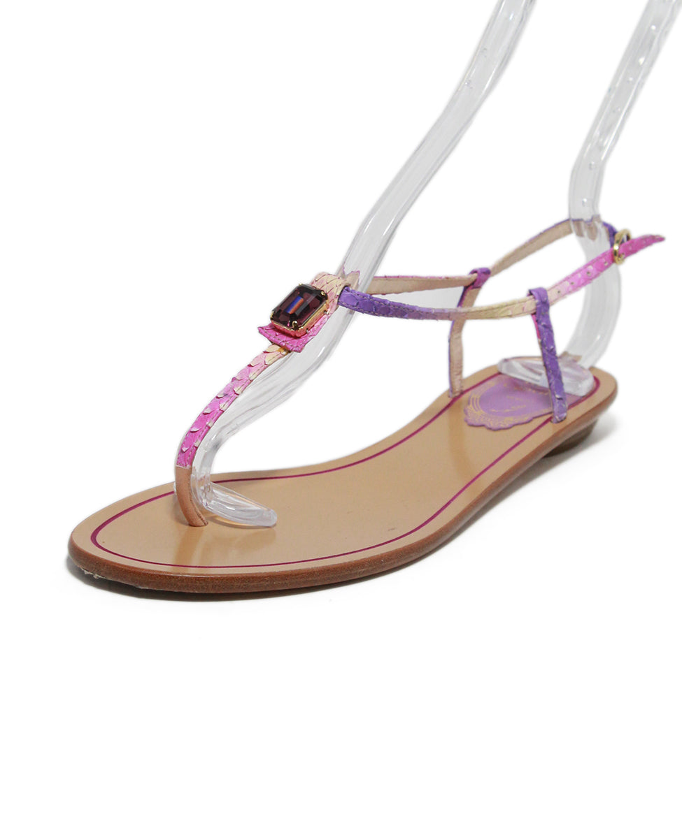 Rene Caovilla Purple Leather Crystal Sandals 1